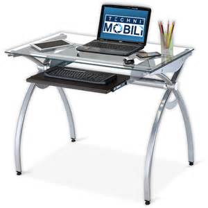 techni mobili glass top computer desk walmart com