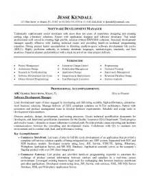 and development resume format exle software development manager resume sle