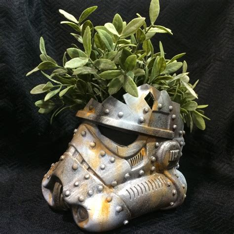 Star Wars Fish Tank Decorations by White Rusted Stormtrooper Helmet Planter Star Wars Decor