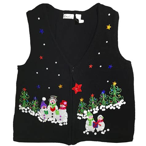 singing snowmen tacky sweater vest the