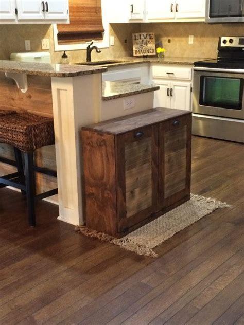 wood tilt out trash cabinet kitchen amusing wooden trash cans for kitchen wood tilt