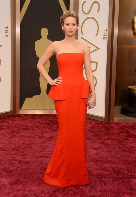 Jennifer Lawrence In Red Dior Dress At The Oscars Who
