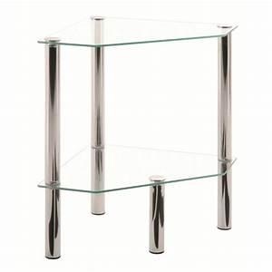 Table D Angle : table d 39 appoint d 39 angle belly chrome et verre tremp transparent achat vente table d 39 appoint ~ Teatrodelosmanantiales.com Idées de Décoration