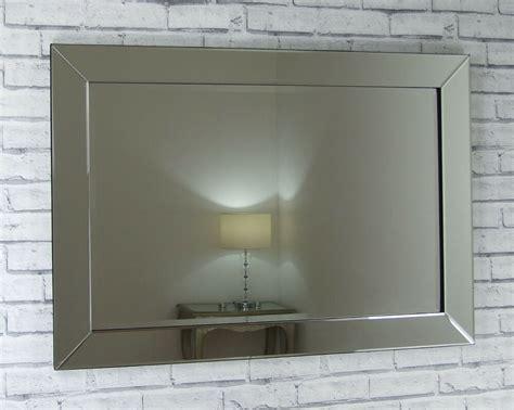 Lara Silver Glass Framed Rectangle Bevelled Wall Mirror 48