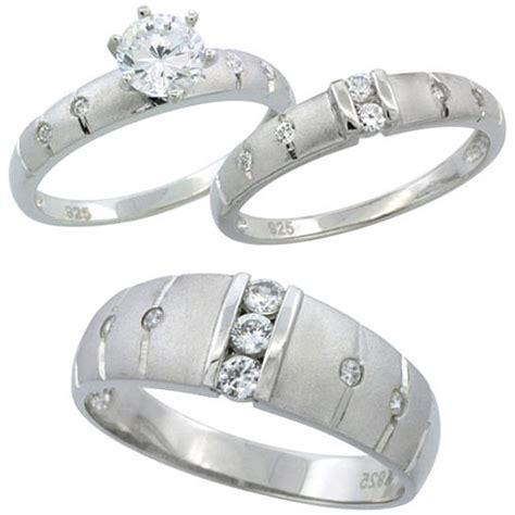 buy sterling silver cubic zirconia trio engagement wedding