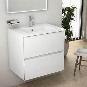 meuble salle de bain 61 cm blanc brillant vasque With meuble blanc de salle de bain