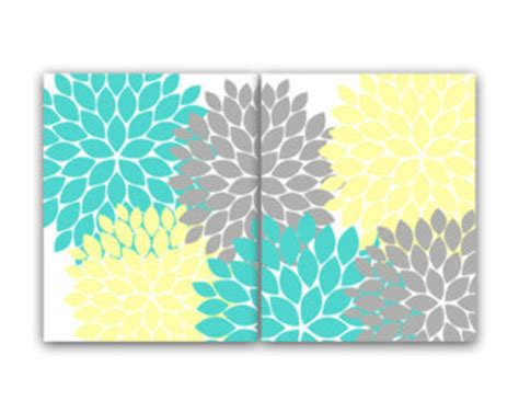 Yellow And Teal Bathroom Decor by Yellow Turquoise Etsy
