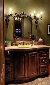 Powder tuscan old world french mediterranean homes for Tuscan bathroom vanity cabinets