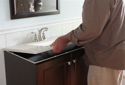 home depot bathroom sink installation how to install a bathroom vanity at the home depot at the