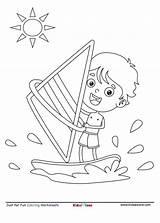 Coloring Boat Sailing Kid Serfer Fun Sheet Sail Cartoon Motor Kidzezone Kolorowanka sketch template