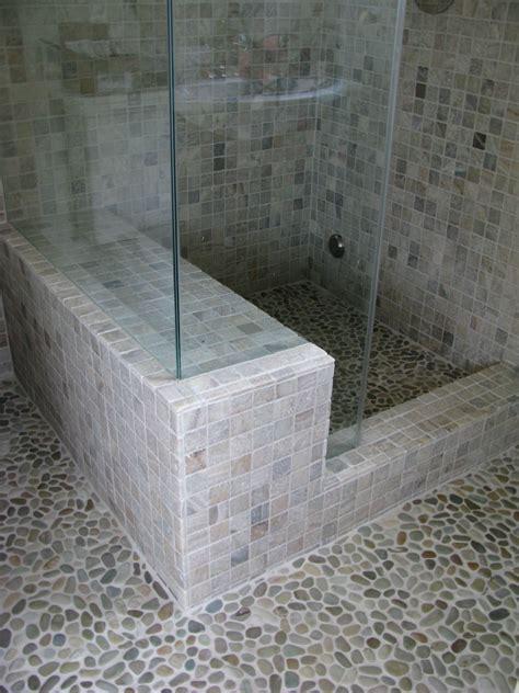 onyx steam shower  golden pebble tile flooring zen