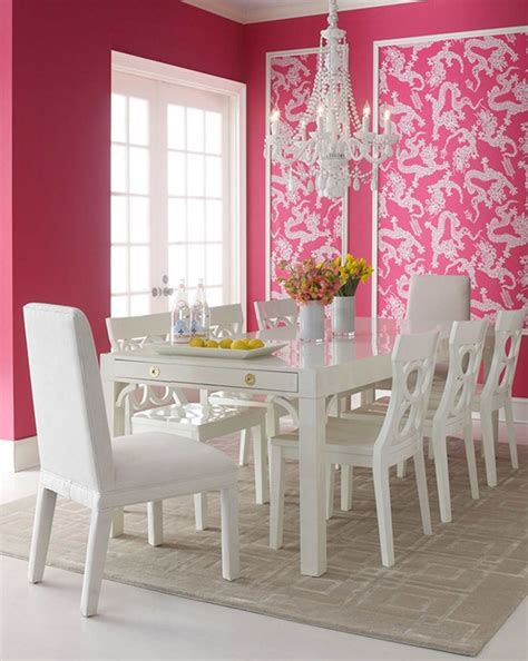 charming dining room with pink wall deor white dining