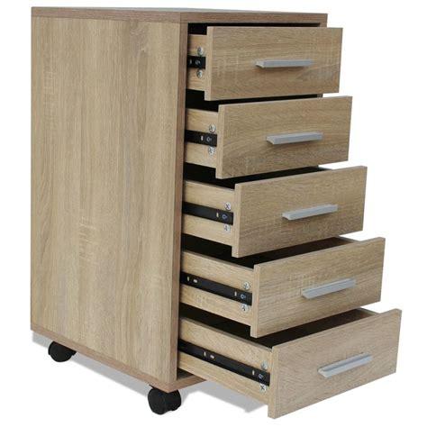 acheter vidaxl caisson 224 tiroir de bureau avec roulettes 5 tiroirs ch 234 ne pas cher vidaxl fr