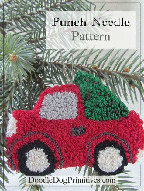 vintage red truck  christmas tree punch needle pattern