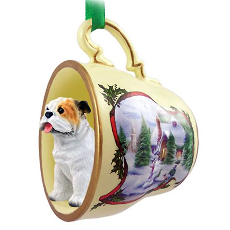 dog christmas ornaments by breed bulldog teacup ornament figurine white