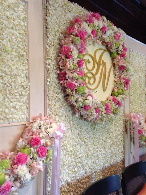 Flower backdrop for Thai wedding ceremony at 137 Pillars