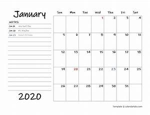 2020 Yearly Calendar Word 2020 Calendar Template With Monthly Notes Free Printable