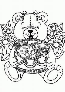 Teddy Bear Happy Birthday coloring page for kids, holiday ...