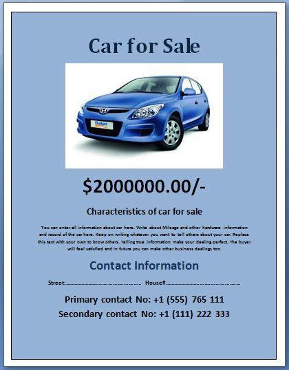 car for sale template sle car for sale poster flyer template formal word templates