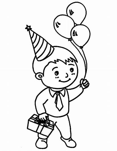 Balloons Coloring Birthday Party Pages Boy Drawing
