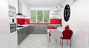 Cuisine Rouge Noir Et Blanche Avec Des