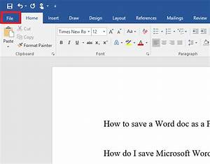 How to save a Microsoft Word doc as a PDF or other file ...