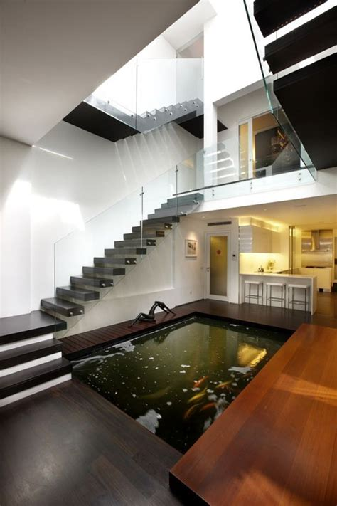 indoor koi pond deck   stairs homemydesign