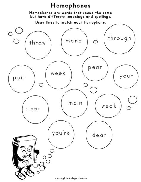 homonyms worksheets pdf homophones sight words reading writing spelling