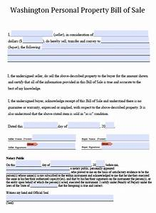 free washington personal property bill of sale form pdf With bill of sale template wa