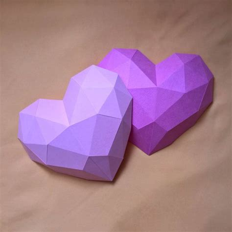 papercraft heart printable digital template poly