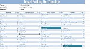 travel packing list template free free excel