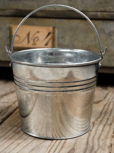 galvanized tiny  metal buckets  handles