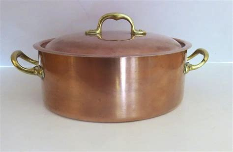 vintage copper tin lined covered casserole stock pan pot   italy black tulip antiques