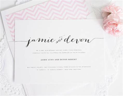wedding invitations  unique script names   pink