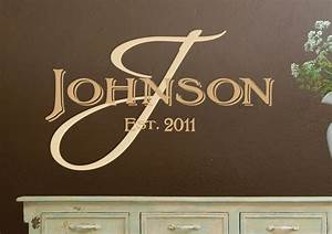 Monogram wall decals personalized family name vinyl by