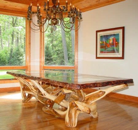 rustic table solid redwood  edge natural wood