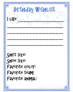 Birthday Wish List Printable