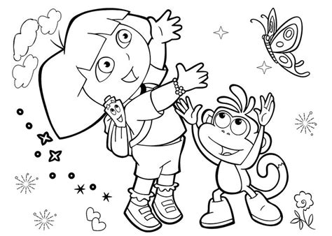 Dora coloring pages with friends printable free   Coloring