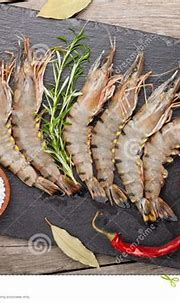Fresh Raw Tiger Prawns And Spices Stock Photo - Image of ...
