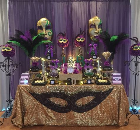birthday masquerade party candy buffet  purple green