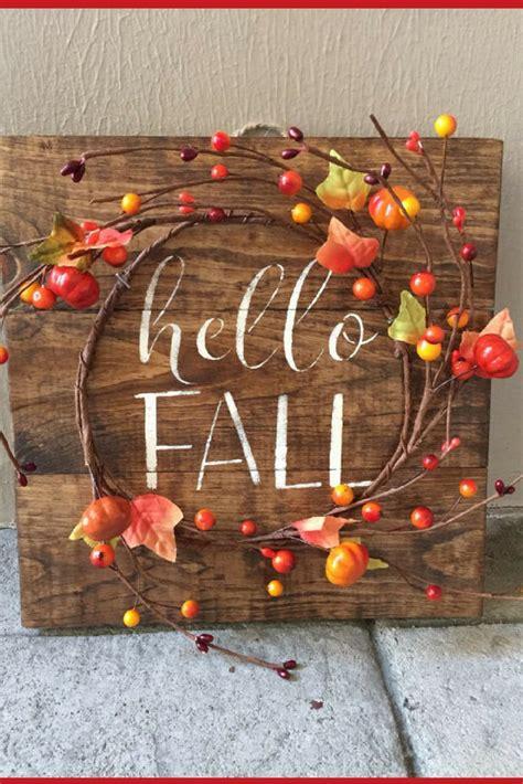 hello home decor 35 rustic fall wood pallet sign w berry pumpkin garland