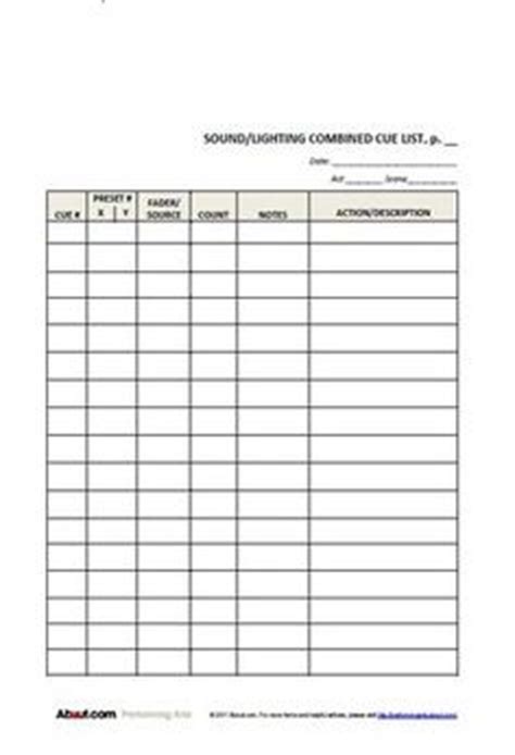 simple lighting cue sheet  students backstage ideas