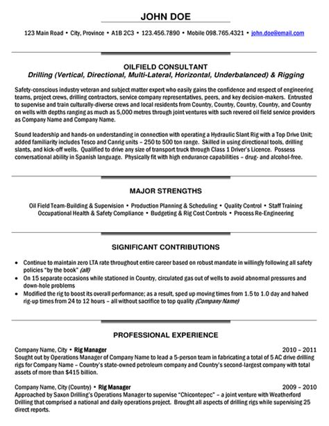 And Gas Industry Project Manager Resume by Rig Manager Resume Sle Expert Gas Resume
