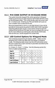 1 Pin Code Output In Wiegand Mode  2 Led Control Options