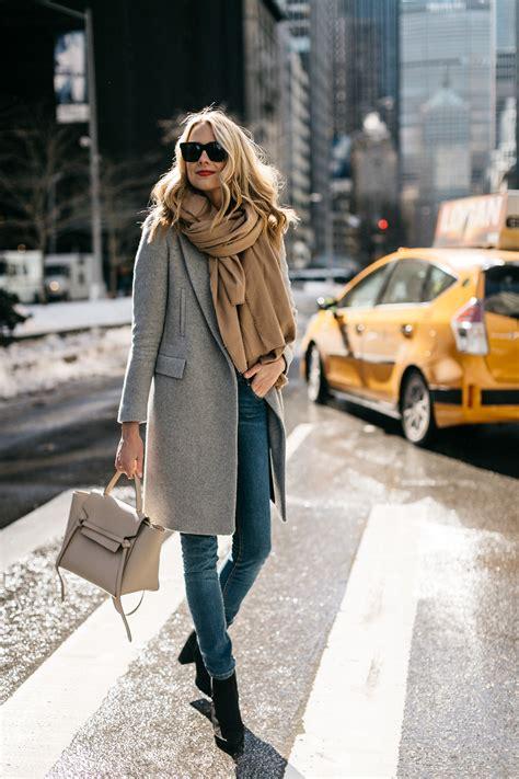 winter york street jeans coat scarf autumn skinny weekend fall outfit booties grey ankle handbag celine denim moda nyc looks