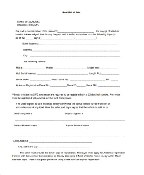 Buying A Boat Bill Of Sale by Sle Boat Bill Of Sale Form 6 Free Documents In Word Pdf