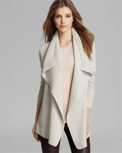 drape front cardigan lyst vince cardigan drape front in white