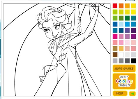 Frozen Elsa Anna Sisters Coloring Game