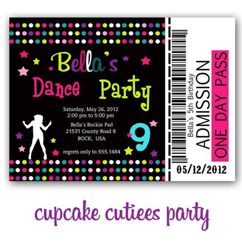 cupcake cutiees dance party invites  printable party store