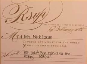 reply to wedding invitation nick saban respond to crimson tide fan 39 s wedding invite pics